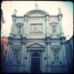 The facade of the Church of San Rocco.