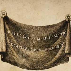 Il drappo esposto in sostituzione al ritratto del doge Marin Faliero