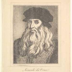 Ritratto di Leonardo da Vinci (da Characaturas di Leonardo da Vinci, da Disegni di Wincelslaus Hollar, Museo di Portland), 1786. — Per gentile concessione The Metropolitan Museum of Art.