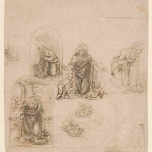 Schizzi compositivi per la Vergine adorante Gesù bambino, il cui studio è stato poi riportato anche nel dipinto Vergine delle Rocce, Leonardo da Vinci, 1480–85 —(Per gentile concessione The Metropolitan Museum of Art.)