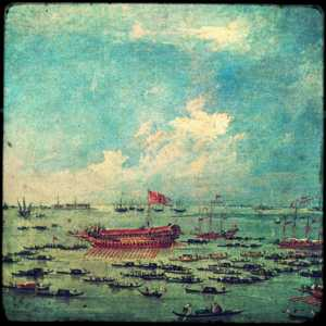 """Dipinto di Francesco Guardi, anni 1775-1780, della serie: """"Le solennità dogali"""": Il Bucintoro naviga verso san Nicolò di Lido, il giorno dell'Ascensione."""