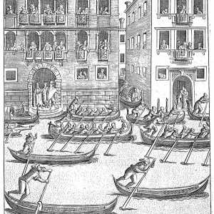A moment of the Regatta - 17th century - Engraving by Giacomo Franco