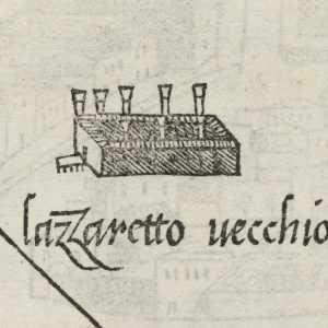 """Il Lazzaretto Vecchio sulla mappa de """"Isolario di Benedetto Bordone"""", 1534 — (Wellcome Library, London)"""