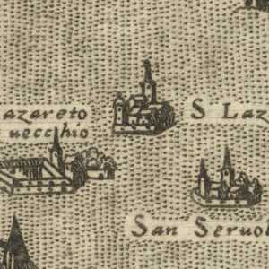"""Il Lazzaretto Vecchio sulla mappa de """"L'isole piv famose del mondo di Thomaso Porcacchi"""", 1572 — (Wellcome Library, London)"""