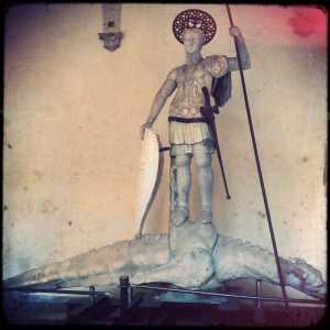 The original statue of San Teodoro whose copy is present in Piazza San Marco.