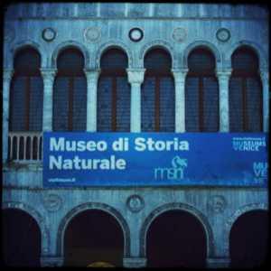 In primo piano l'insegna del Museo di Storia Naturale.