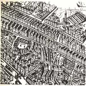 Pianta del Ghetto di Venezia del XVII secolo (Pianta prospettica di S. Scolari, 1677)