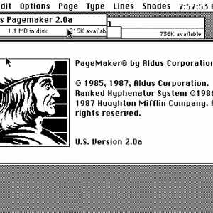 Schermata del programma Aldus Pagemaker, dove si può notare il ritratto di Aldo.