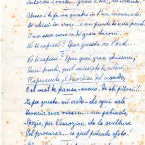 """Prima parte della poesia inedita e autografa di Giuseppe Canali e intitolata """"A la Bienal"""". Per gentile concessione di Fiorella Borin."""