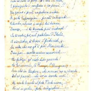 """Seconda parte della poesia inedita e autografa di Giuseppe Canali e intitolata """"A la Bienal"""". Per gentile concessione di Fiorella Borin."""