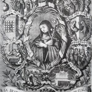 Incisione in rame della Beata Giuliana, contessa di Collalto. Anonimo. cm 19,8 x 4,9 (via Wikimedia Commons).