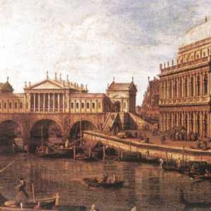 "The bridge, as it would have been designed by Palladio, in a painting by Giovanni Antonio Canal, il Canaletto, ""Capriccio - a Palladian drawing of the Rialto Bridge, with buildings in Vicenza"" - (Web Gallery of Art - WGA / Galleria Nazionale, Parma)."