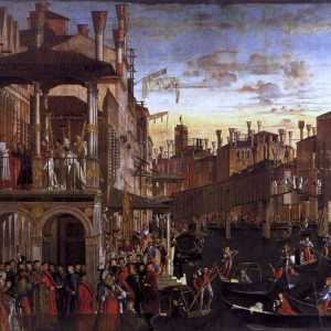 "The bridge, in wood and with drawbridge, as it appears in the painting by Vittore Carpaccio, ""The miracle of the relic of the Holy Cross"""